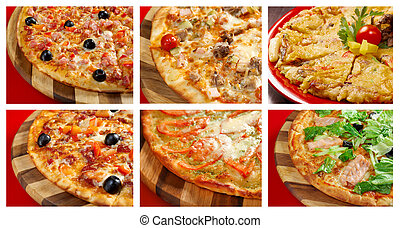 пицца, and, итальянский, kitchen., коллаж