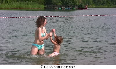 плавать, немного, девушка, мама