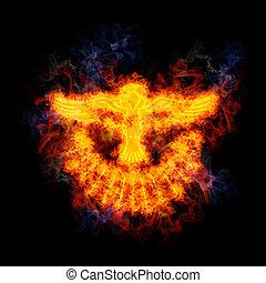 пламенный, голубь, of, , святой, spirit.