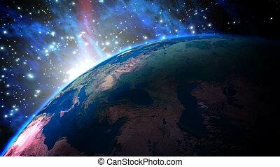 планета, земля, with, sunrise.