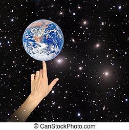 планета, elements, образ, земля, nasa, меблированный, finger., это