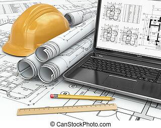 план, дом, портативный компьютер, project.