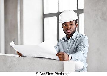 план, шлем, архитектор, африканец