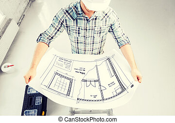 план, шлем, мужской, архитектор