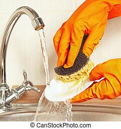 пластина, под, воды, мыть, бег, gloves, руки, губка, кухня