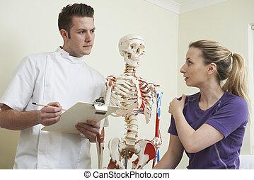 плечо, пациент, остеопат, женский пол, describing, травма