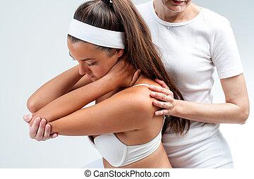 плечо, rotation., терапевт, остеопатический