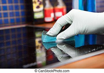плита, скруббер, рука, уборка, индукционный, person's
