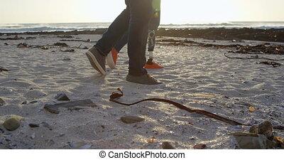 пляж, гулять пешком, день, 4k, пара, романтический, солнечно