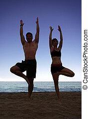 пляж, йога