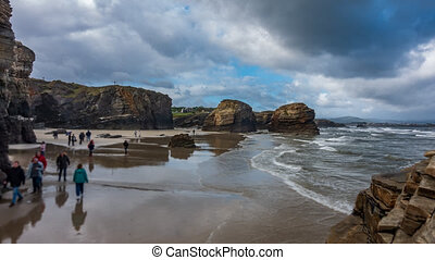 пляж, кафедральный собор, размытый, туристы, time-lapse