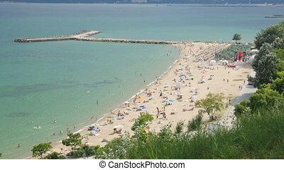 пляж, люди, день, лето