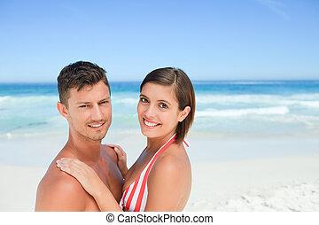 пляж, пара, красивая