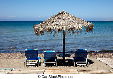 пляж, постель, umbrellas