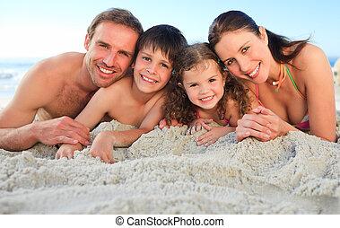 пляж, семья