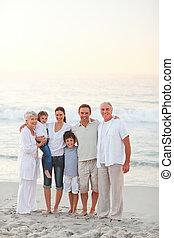 пляж, семья, красивая