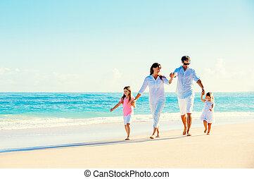 пляж, семья, счастливый