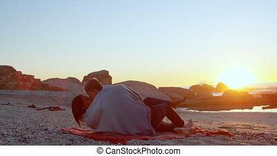 пляж, целование, 4k, пара, романтический