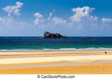пляж, anse, de, ручка, шапка, на, , presqu'ile, de, crozon,...
