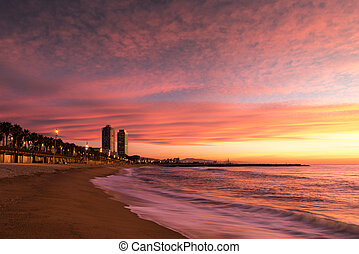 пляж, barceloneta, барселона
