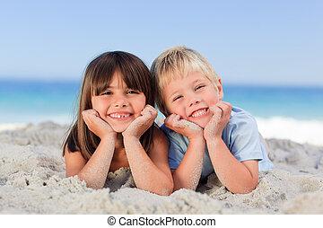 пляж, children
