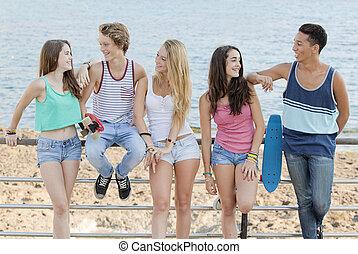 пляж, teens, разнообразный, группа