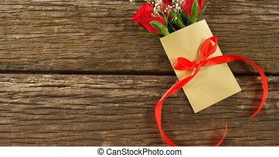поверхность, лента, красный, конверт, деревянный, 4k, букет,...