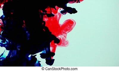 подводный, всплеск, красочный, чернила