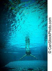 подводный, женщина, молодой