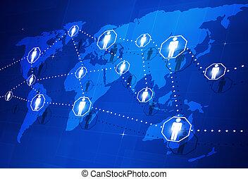 подключение, глобальный, люди