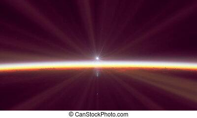 поднимающийся, над, солнце, планета, земля