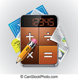 подробный, калькулятор, вектор, xxl, значок