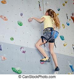 подросток, альпинизм, камень, стена