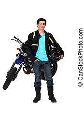 подросток, верховая езда, , мотоцикл