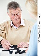 подросток, внучка, домино, старшая, playing, человек