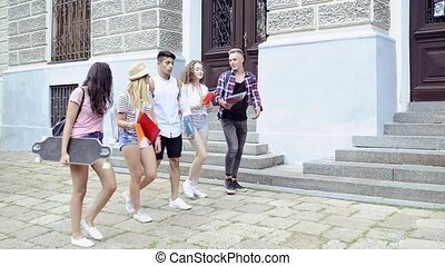подросток, группа, university., students, гулять пешком,...