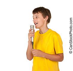 подросток, мальчик, delivering, , речь