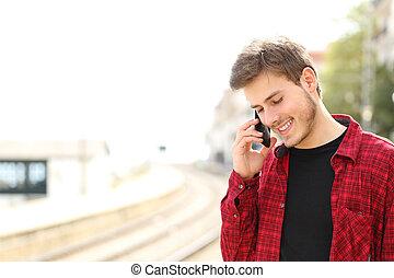 подросток, мобильный, призвание, телефон, ожидание, поезд,...