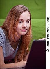 подросток, на, интернет