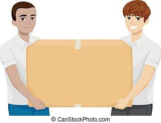 подросток, boys, пожертвование, коробка, иллюстрация