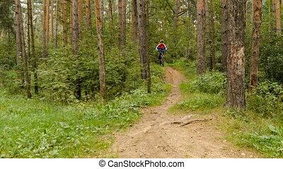 подросток, rides, байк, через, , леса