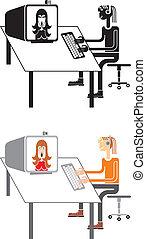 подросток, talking, над, интернет
