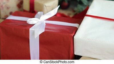 под, дерево, белый, красный, gifts, украшен, colours., presents, рождество