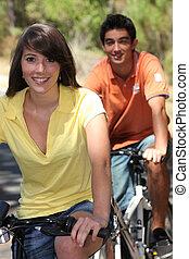 поездка, пара, велосипед, молодой