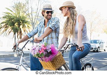 поездка, пара, велосипед, привлекательный