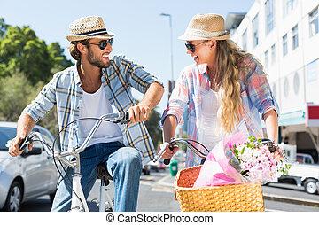 поездка, привлекательный, велосипед, пара