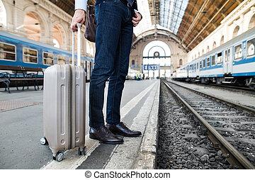 поезд, зрелый, бизнесмен, station.