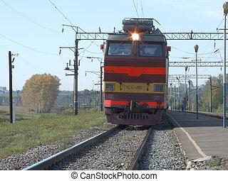 поезд, на, железнодорожный, в, rus