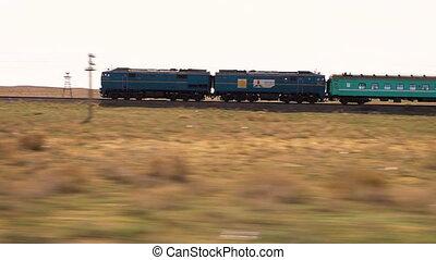 поезд, на, , пустыня