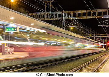 поезд, отбыли, из, feldkirch, станция, -, австрия